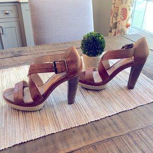 Modern Vintage wood stacked heels with rope detail
